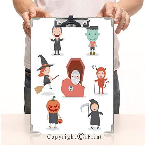 Aluminum clipboard Paper Clips,Steel Metal clipboard,A4 Folder,Office School Workers use,Cute Kids Wearing Halloween Monster Costume on White Background ()