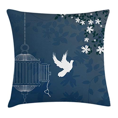 Ambesonne Romantic Throw Pillow Cushion Cover, French Style Love Theme Bird Cage and Dove Flying Out with Swirls, Decorative Square Accent Pillow Case, 24 X 24 Inches, White Slate Blue and Indigo