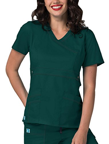 Adar Pop-Stretch Women's Junior Fit Taskwear Tab-Waist Crossover Scrub Top - 3200 - Hunter Green - M