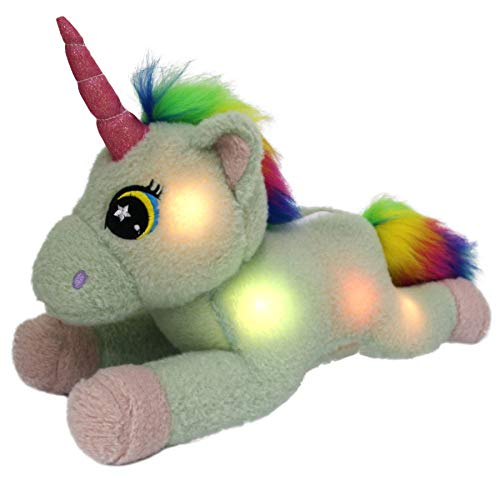 Bstaofy LED Unicorn Stuffed Animals Glow Adorable Plush Toys with Rainbow Mane and Tail Gifts for Kids on Xmas Halloween Birthday, 16 Inch (Light Green) ()