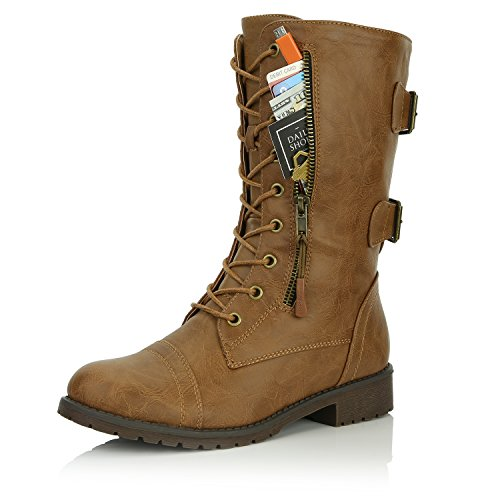 DailyShoes Women's Military Lace Up Buckle Combat Boots Mid Knee High Exclusive Credit Card Pocket, Slim Tan, 8 B(M)