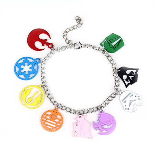 [Star Wars Color 9 Charms Toggle Clasp Bracelet in Gift Box by Superheroes] (4 Star Dragonball Costume Color)