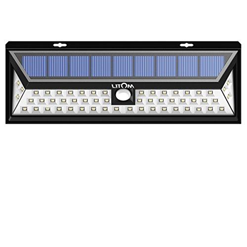 LITOM Solar Lights Outdoor, 54 LED Super Bright 270°Wide Angle Motion Sensor Lights, Wireless Waterproof Security Solar Light for Front Door, Yard, Garage, Deck, Porch, Shed, Walkway, Fence