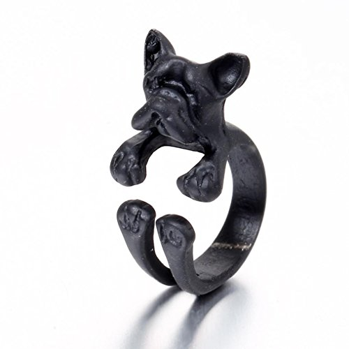Besooly French Bulldog Dog Animal Wrap Rings Jewelry Finger Ring Adjustable Ring (Black) Bulldogs Ladies Black Rhinestone