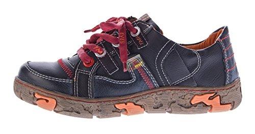 TMA Comfort Damen Leder Schuhe Schnürer 4181 Sneakers Schwarz Weiß Rot Grün  Turnschuhe Halbschuhe Schwarz ... 51e9c5e9e4