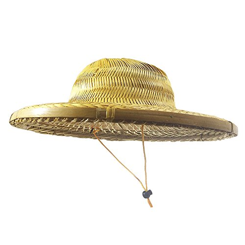 Sunnyhill(TM) Chinese Oriental Bamboo Straw Cone Garden Fishing Hat Adult Rice Hat (Style 7)