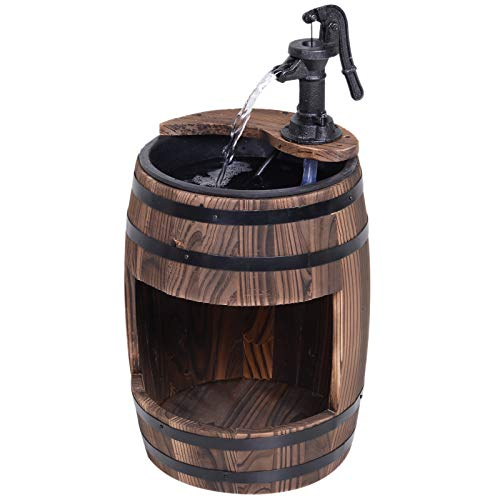Outsunny Barrel Water Fountain Wood Metal Rustic Outdoor Apple Garden Decor Pump with Flower Planter