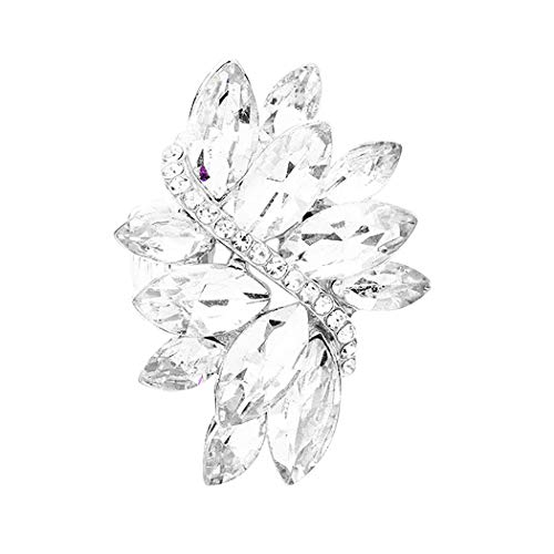 - Rosemarie Collections Women's Dazzling Crystal Leaf Stretch Cocktail Ring (Clear)