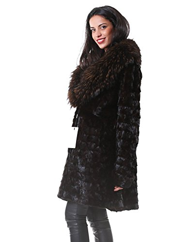 Woman Fur Coat Brown Petals Mink murmasky PELLICCEFUR Neck and ZIFpnxFw