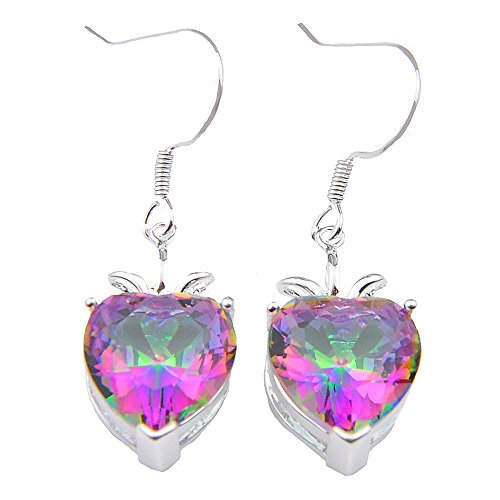 Luckyshine Heart Shape Fire Mystic Topaz 925 Silver 4-prong Dangle Earrings for (Mystic Topaz Heart)