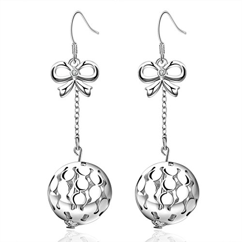 Peak Horizon Women's Earring Rhodium Plated Silver Tone Butterfly Knot Filigree Ball Dangle Earring