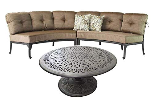 Round sofa Elisabeth Cast Aluminum 3pc Deep Seating Patio set - Desert -