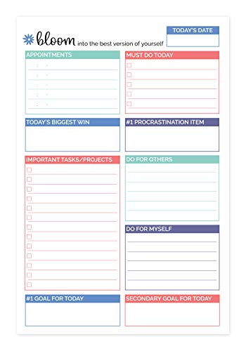 bloom daily planners Double Sided Daily Planning System Tear Off to Do Pad - Teal - 6 x 9