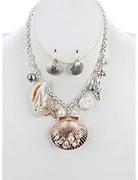 Fashion Jewelry ~ Seashell Starfish Charm Pendant Necklace and Earrings Set
