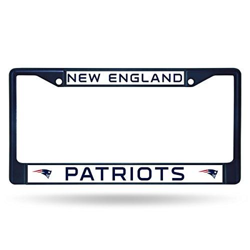 NFL New England Patriots Colored Chrome Plate Frame, Navy (Bomb Plate Frame License Sticker)