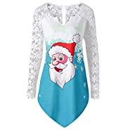 kaifongfu Christmas Lace Shirt for Women Ladies Tops Blouse