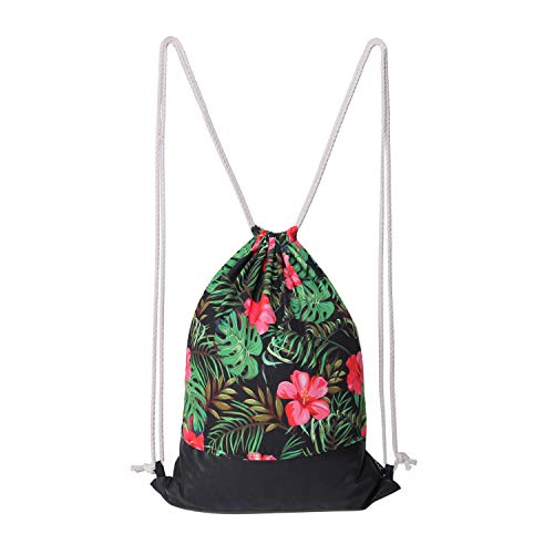 Drawstring Backpack Gym Sack Pack Retro Style Hawaii flower String Bag With Pocket Sport Cinch Pack Bags Beach Rucksack for Women Men