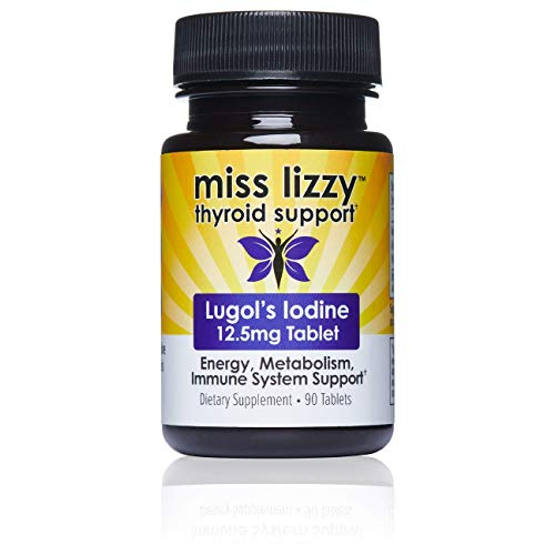 (Miss Lizzy Thyroid Support Lugols Iodine Supplement 12.5mg | Boost Energy, Metabolism, Fat Burning, Weight Loss, Immune System, Brain & Mental Focus | Natural Easy-to-Swallow Tablets | 90 Pills)