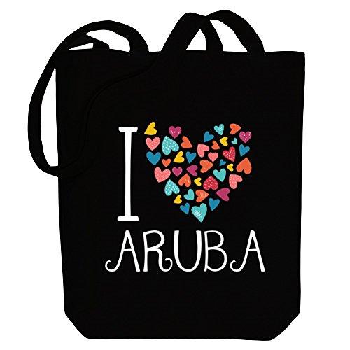 love Idakoos hearts colorful Tote Bag Canvas Countries I Aruba 75q5Rfw