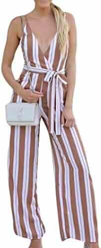 3fa77ffc30ec vermers Hot Sale Women Jumpsuits Casual Lady Stripe Print Loose Playsuit  with Belt Long Wide Leg