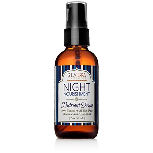 Shea Terra Organics Night Nourishment Nutrient Serum | Anti-Wrinkle Facial Treatment, Anti-Aging Drops, All Natural Home Spa Products and Beauty Salon Supplies - 2 oz