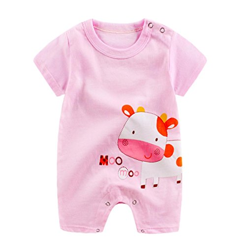 Vicbovo Clearance Sale!! Baby Infant Boy Girl Short Sleeve Cartoon Print Jumpsuit Romper Pajamas Clothes Summer Outfits (Pink, -