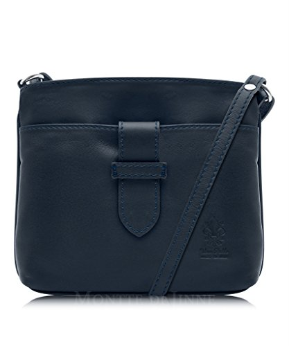 Genuine Italian Soft Leather, Small Strap Fronted Cross Body or Shoulder Bag Handbag Navy