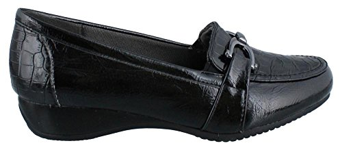 LifeStride Women's Dempsey Slip-On Loafer Black Star Fantozzi Shiny/Giovanni