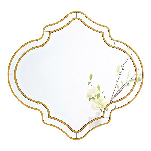 MIRROR TREND Large Vanity Mirror Handmade Clear Mirrors, - Gold Large Mirror