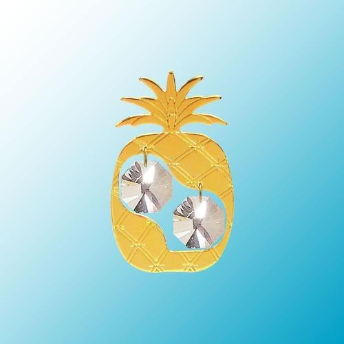 24k Gold Plated Pineapple - Sun Catcher or Magnet - Clear Swarovski Crystal -  Crystal Delight by Mascot, 2658