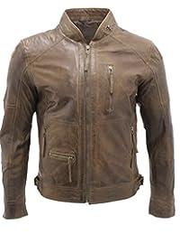 Men's Retro Biker Real 100% Sheepskin Brown Nappa Leather Jacket