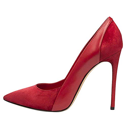 Themost Womens Suede Patent Leather Stitching High Heels Closed Pointy Toe Stiletto Pumps Shoes(Red 10.5)