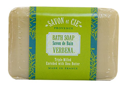 Savon et Cie Triple Milled Soap enriched with Organic Shea Butter, 100% Pure Vegetable Based, Natural French Bath Soap, Energizing, Paraben Free  Verbena, 7 oz (200gr) Bar