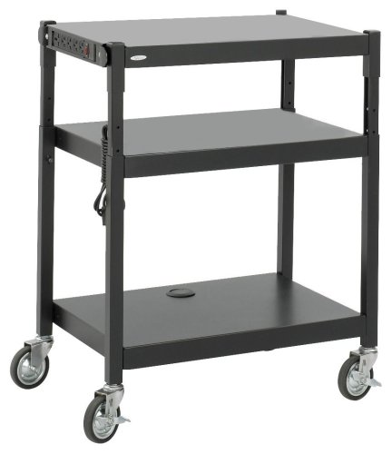 Adjustable Safco Stand Height - Safco Products 8932BL Steel Adjustable Height AV Cart, Black