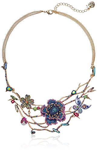 Betsey Johnson Womens Blooming Betsey Floral Open Work Frontal Necklace, Blue, One Size