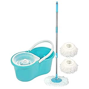 Ketsaal 360 Degree Spin Bucket Mop with 3 Refills- Super Absorbent Refills for All Type of Floor, 180 Degree Bendable…