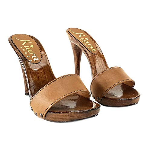 Shoes cuoio Kiara Handmade Alti Cuoio Zoccoli Km7203 dqRU6S