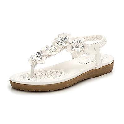 Hee grand Womens Bohemian Flat Sandals Summer Rhinestone T-Strap Thong Sandals Comfort Elastic Beach Flip Flops Sandals
