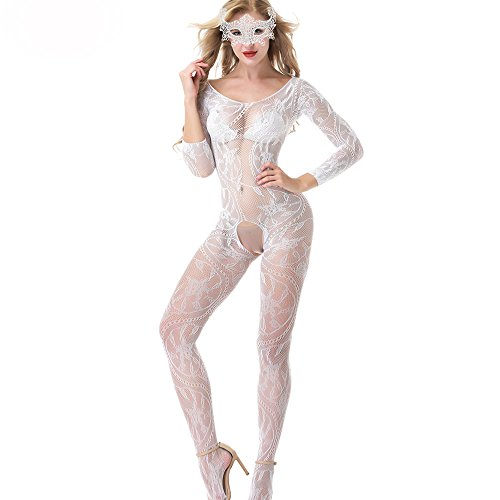 White QueensHot Sleeved Sheer Lingerie Babydoll Crotchless Teddy Nightie Leotard Body Suit Stocking with Venetian Eyemask One Size