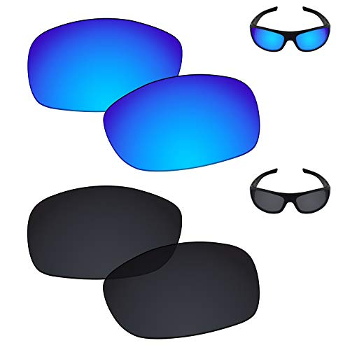 Galvanic Replacement Lenses for Oakley Sideways Sunglasses - Ice + Black Polarized - Combo ()