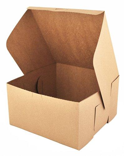 "Southern Champion Tray 0977K Kraft Paperboard Non Window Lock Corner Bakery Box, 10"" Length x 10"" Width x 5-1/2"" Height (Case of 100)"