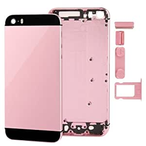 Full Housing Alloy Replacement Back Cover with Mute Button Power Button Volume Button Nano SIM Card Tray for (Pink) iPhone 5S