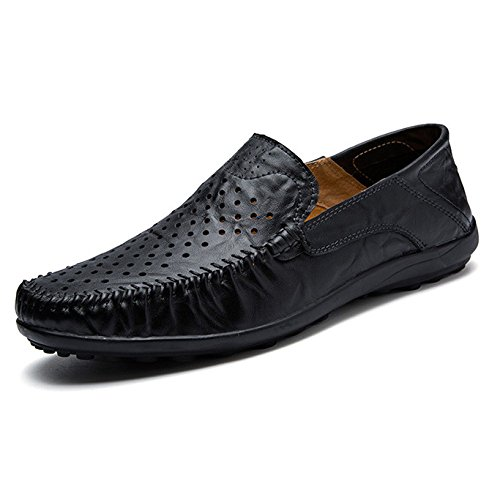 Scarpe Flat On Driving Loafers Traspirante Casual Da Slip Pelle Estiva Fodera HGDR Business Uomo In Black Shoes qRtTB