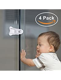 Adoric 4-Pack Sliding Door Locks for Baby Safety, Childproof Lock for Sliding Closet Cupboard Bathroom Kitchen Doors Windows, No Tools Needed, White BOBEBE Online Baby Store From New York to Miami and Los Angeles
