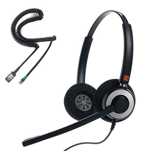 IPD IPH-165 Professional Binaural Noise Cancelling Headset for Call Center,Office and Landline Phones, Corded Telephone Headset with U10P-S Cable with RJ9 Jack Works with LG,Yealink,Snom&Other Phones