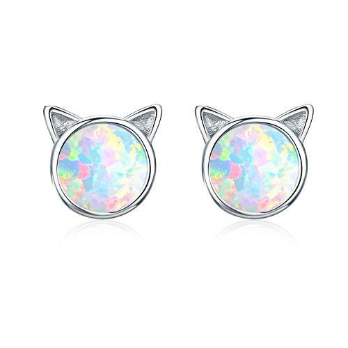 Cuoka cat Earrings Opal Earrings for Girls cat Earrings for Girls Sterling Silver Girls Earrings cat Jewelry for Women