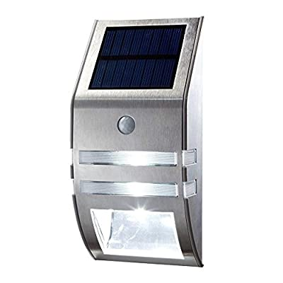 Solar Light LED Wireless Waterproof Security Light Motion Sensor Outdoor Wall Lights Stainless Steel Solar Powered Lighting for Diveway Patio Garden Path Yard Deck