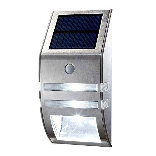 Solar Light LED Wireless Waterproof Security Light Motion Sensor Outdoor Wall Lights Stainless Steel Solar Powered Lighting for Diveway Patio Garden Path Yard Deck