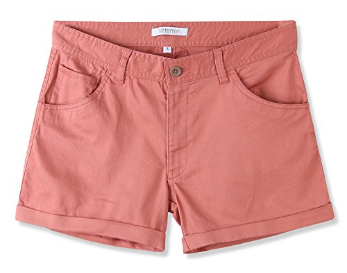 Vetemin Women's Juniors Comfy Fitted 5-Pocket Cuffed Casual Walking Chino Shorts Deepsea Coral ()