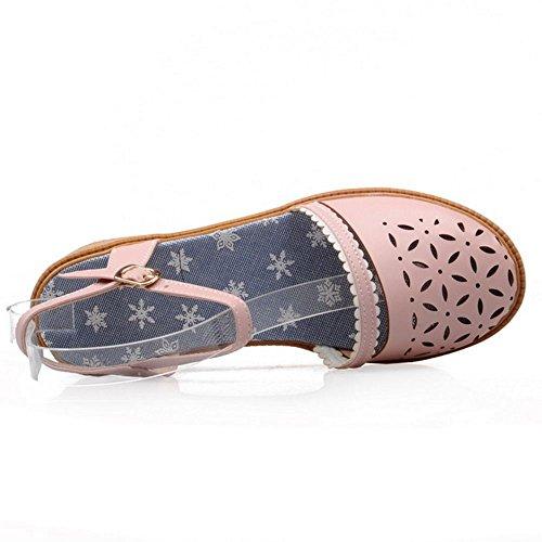 RAZAMAZA Mujer Hueco Tacon Bajo Flor Sandalias Talon Abierto Verano Zapatos Rosado